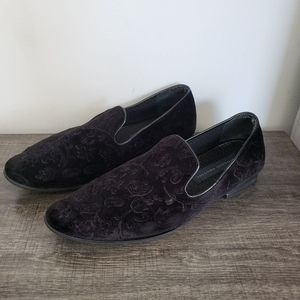 Mens Velvet Black Shoes Loafers 9M